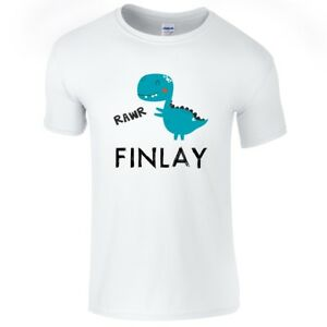Customised Printed Top Gift Present T-shirts, Tops & Shirts Diplomatic Boys Personalised Name Dinosaur T-shirt