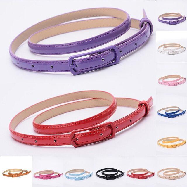 Fashion Women Colorful Skinny Thin Waist Belt Patent Leather Narrow Waistband