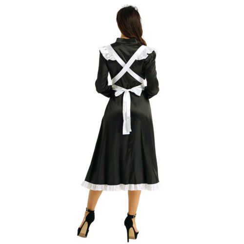 Femme Costume Servante Déguisement Halloween Carnaval Cosplay Robe Soubrette
