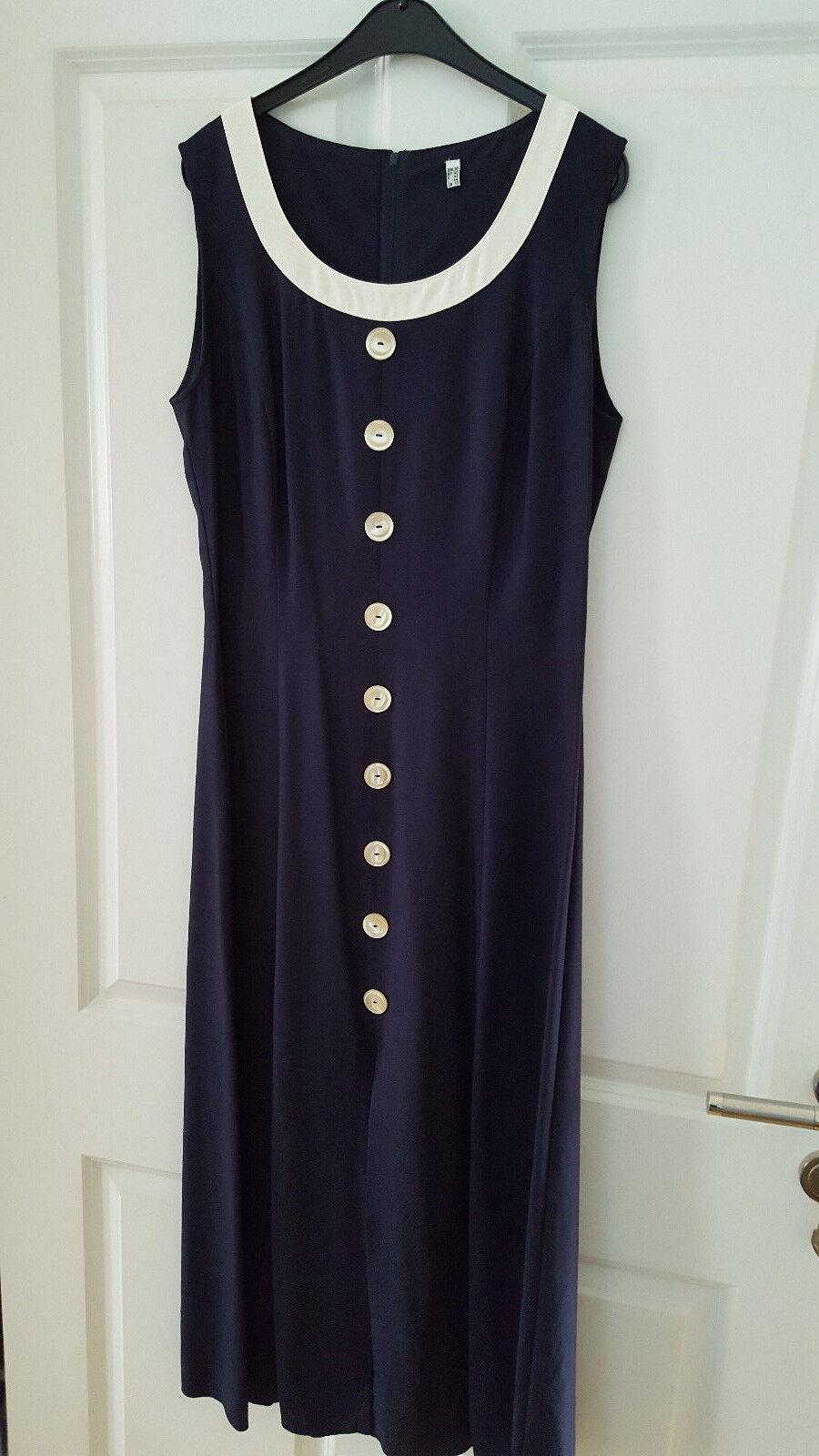 Retro Kleid mit Jacke - Surprise - 38 - Viskose Leinen - Blau Weiß - Neuwertig