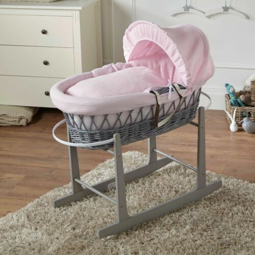 Pink Waffle Grey Wicker Moses Basket And Grey Rocking Stand