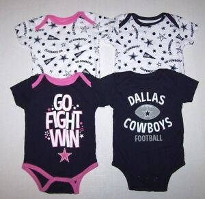 Nwot New Dallas Cowboys Logo Ss Bodysuit Romper Top Shirt Snaps
