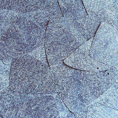 """Lagere Prijs Met Sequin Fishscale Fin 1.5"""" Denim Blue Jean Fabric Effect Opaque"""