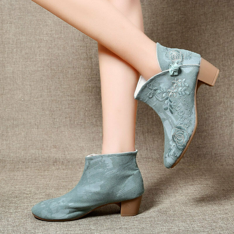 Retro Womens Round Toe Ankle Boots Elegant Embroidered Floral Casual Booties