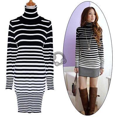 Women Sexy Long Sleeve Stripe Sweater Dress Knit Jumper Casual Tops new e