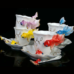 Porcelana-Hecho-A-Mano-China-Carpas-Doradas-Juego-De-Cafe-Te-Juego-1-Taza-1-HC