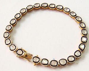 Fine-Jewelry-Natural-Diamond-Polki-18k-Gold-amp-Sterling-Silver-Bangle-Bracelet