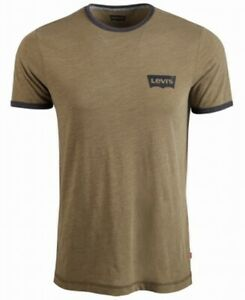 Levi-039-s-Mens-T-Shirts-Green-Size-Small-S-Crewneck-Logo-Graphic-Tee-34-084