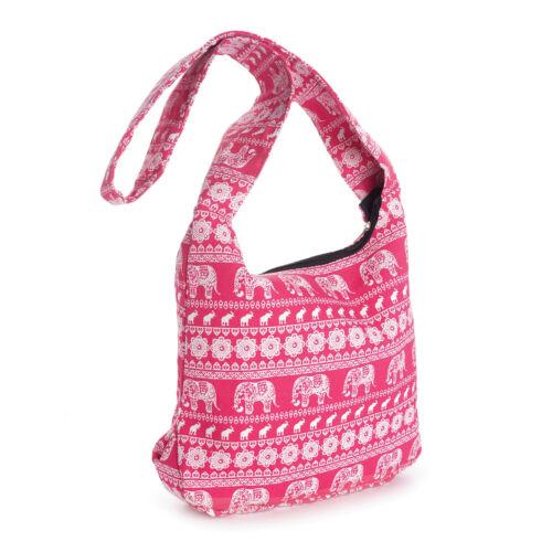 Ladies Womens Girls Pink /& White Elephant Print Cross Body Messenger Bag New