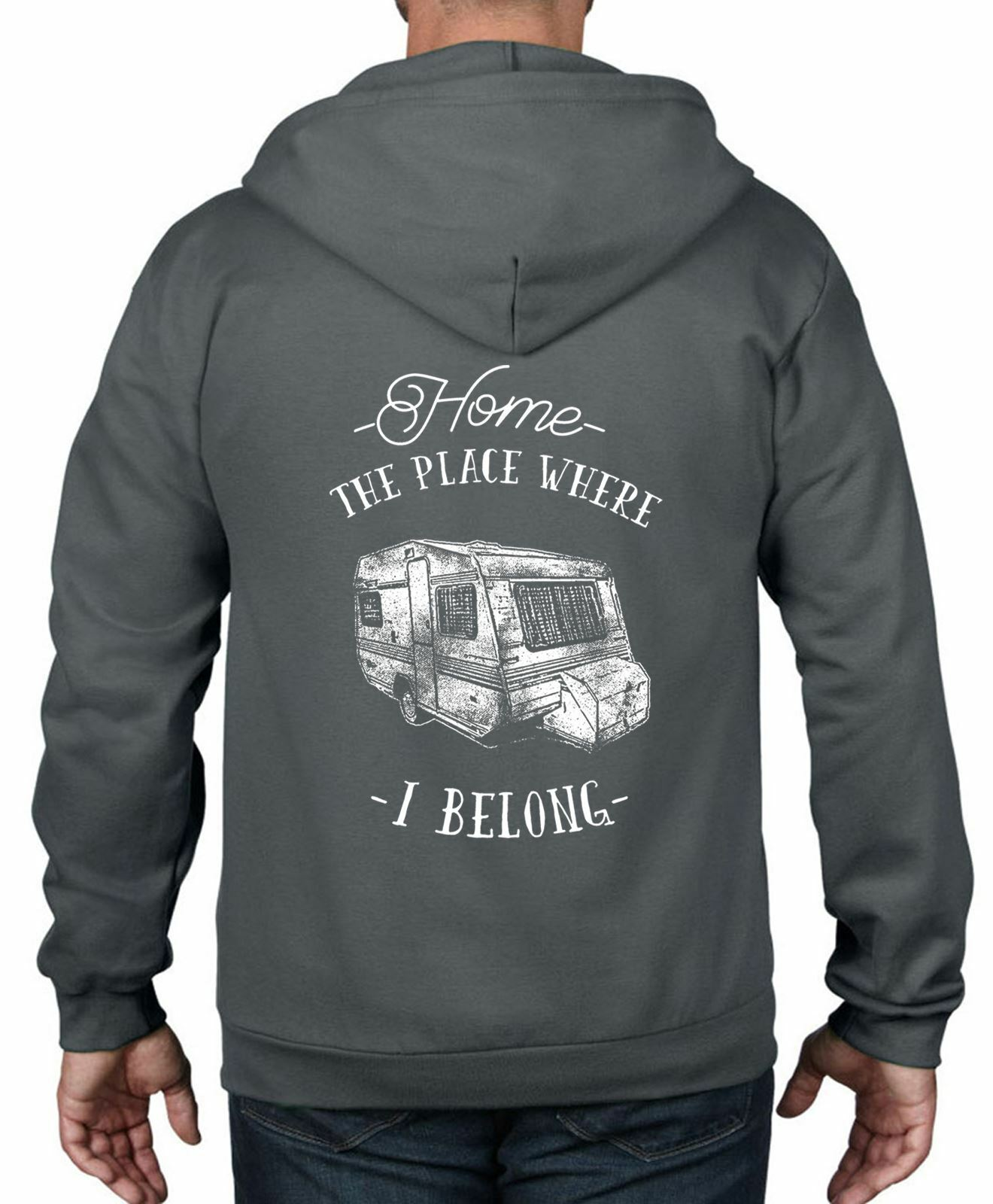 The Place Where I Belong Caravan Camping Full Zip Hoodie - Camper Van