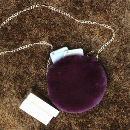 Women Faux Cony Fur Clutch Bag Fluffy Furry Round Purse Chian Strap Handbag Soft
