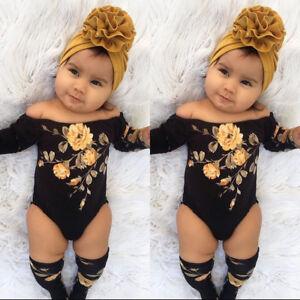 aspetto dettagliato così economico elegante Details about Baby Girl Infant Off Shoulder Flower Romper Jumpsuit+Leg  Warmers Outfits Clothes