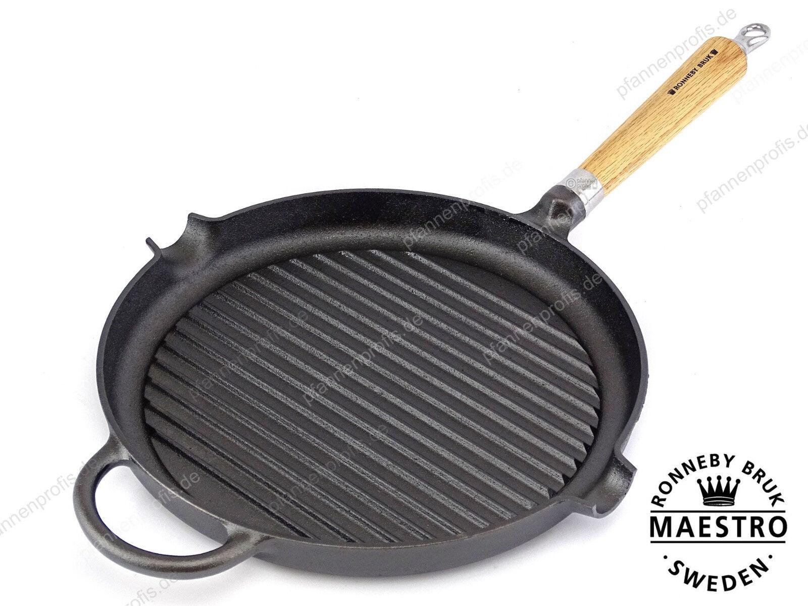 Ronneby Bruk en fonte barbecue poêle maestro 28 cm manche bois, terminé rodées
