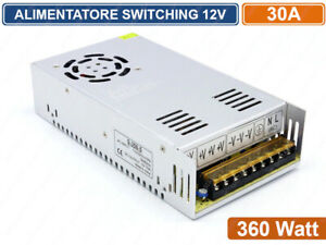 ALIMENTATORE-METALLICO-STABILIZZATO-SWITCHING-TRIMMER-220V-12V-30A-360-WATT