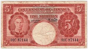 JAMAICA-5-SHILLINGS-1950-SERIES-NUMBER-91C-87144-KM-37a