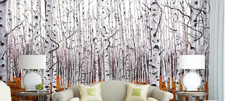 3D Weiß Birch Trees 7 Wall Paper Murals Wall Print Wall Wallpaper Mural AU Kyra