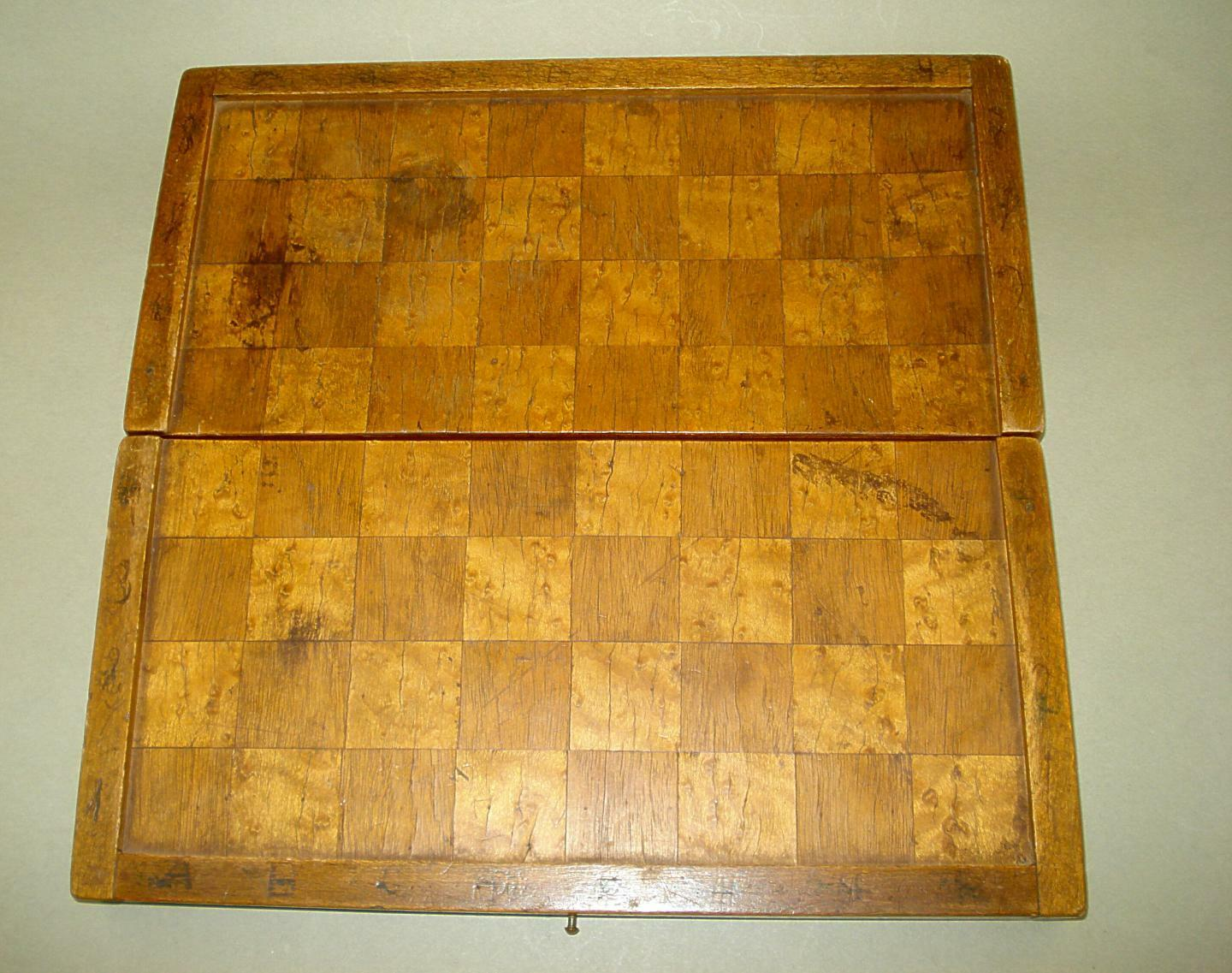 Old Small Chess Dovetailed Wooden Board Box