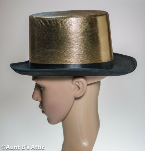 Top Hat Black Felt With Gold Lame/' Fabric Covered Crown Fancy Costume Hat OS