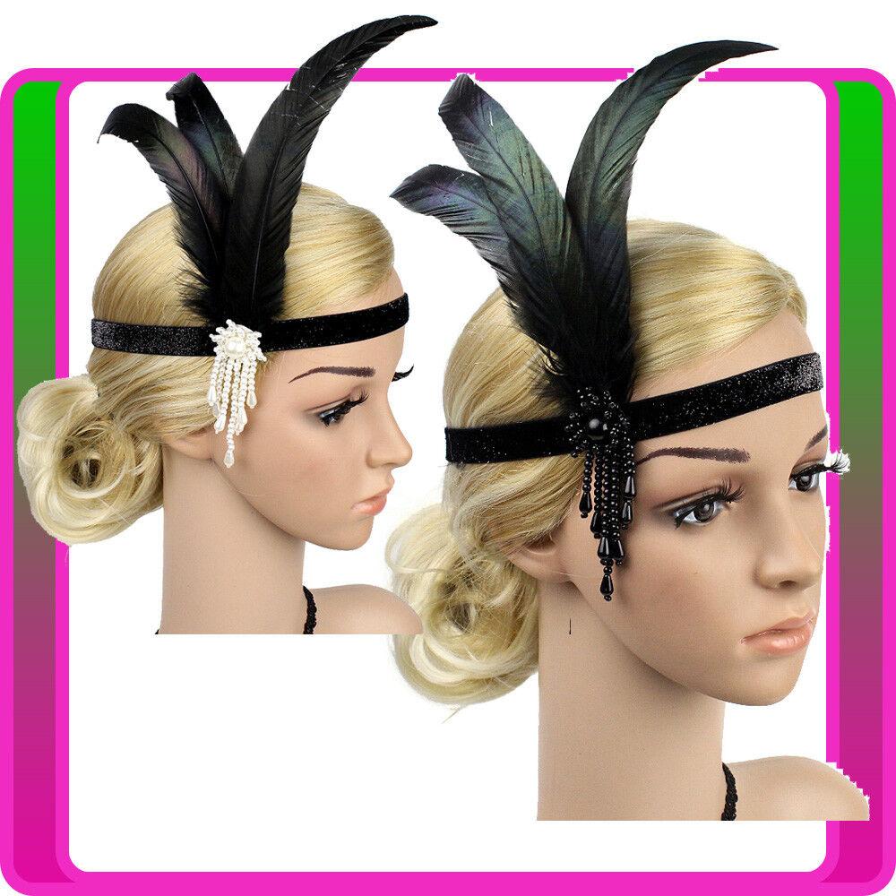 1920s Headband Black Feather Vintage Bridal 20s 20's Gatsby Flapper Headpiece