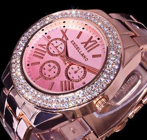 excellanc damen uhr armbanduhr rosa silbern rose gold. Black Bedroom Furniture Sets. Home Design Ideas