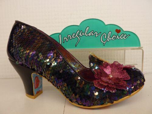 Irregular Choice Cariad Black Multi Pink Sequin Flower Low Heel Ladies Shoe