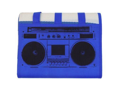 2X CLASSIC RADIO STRIPED BLUE WHITE BLACK LARGE CARRYING BEACH MATS 90CM X 180CM