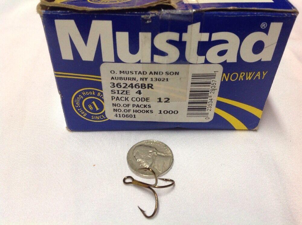Mustad 36246BR Size 4 Bronze Treble Hook 1000 Count