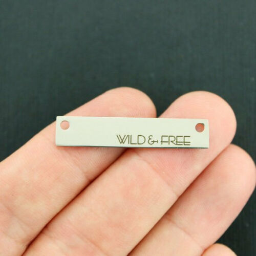 Wild and Free Connector Charm Stainless Steel Bar Quantity Options LCON237