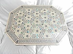 Egyptian Inlaid Mother of Pearl Paua Wooden Table Hexagonal Long 19.25 X 15