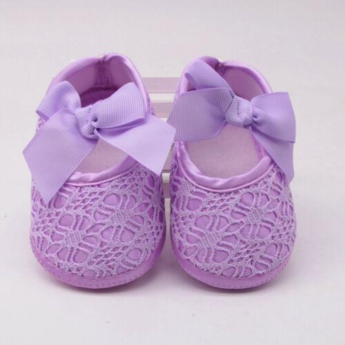 Newborn Infants Girls Soft Shoes Soft Soled Non-slip Bowknot Footwear Crib Shoes