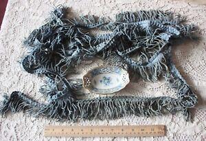 """Vintage Antique Cotton Blue French c1920 Passementerie Fringe Braid~4yd22X2 1/2"""""""