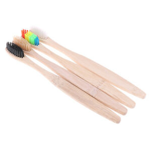 4Pc-Colorful-Rainbow-Soft-Setole-Pure-Bamboo-Spazzolino-in-legno-Spazzola-per-ND