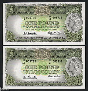 R-34b-1961-1-Pound-Coombs-Wilson-Reserve-Bank-aU-UNC-CONSEC-Pair