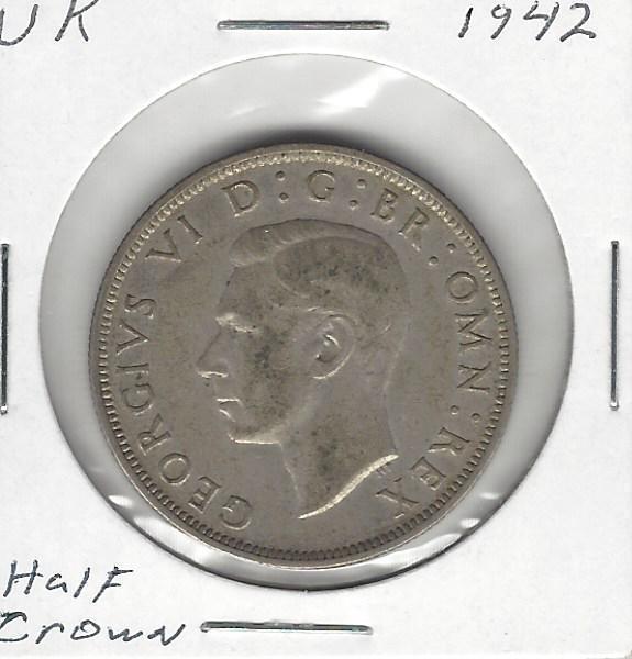 Great Britain / United Kingdom, 1/2 Crown, 1942, World War II era, Silver