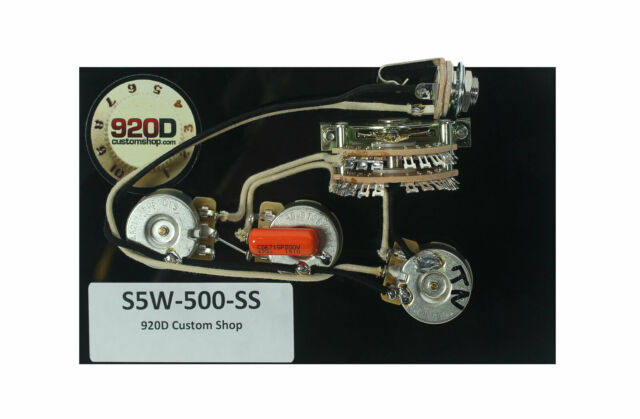920d Custom Shop Strat 5-way Wiring Harness 500k Super Switch for HH on tele mirrors, tele body, tele bass,