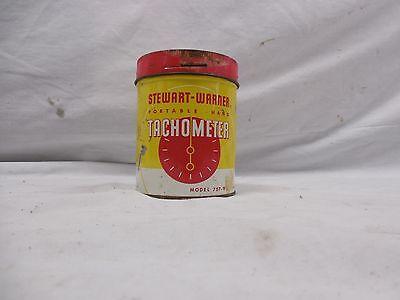 Vintage Portable Hand Stewart Warner Tachometer 4500 RPM Original Tin Manual