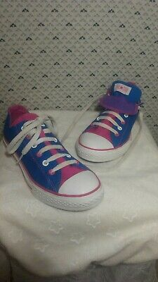 CONVERSE All Star Junior Blue Pink Double Tongue Lace Up Sneakers Size 5 | eBay