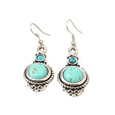 Fashion Women's Jewelry Round Turquoise Leaf Long Dangle Style Stud Earrings