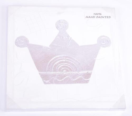 Dekoratives Bild 39x39cm silber Krone Kunstdruck auf Holzrahmen ArtNrDC9700170K2