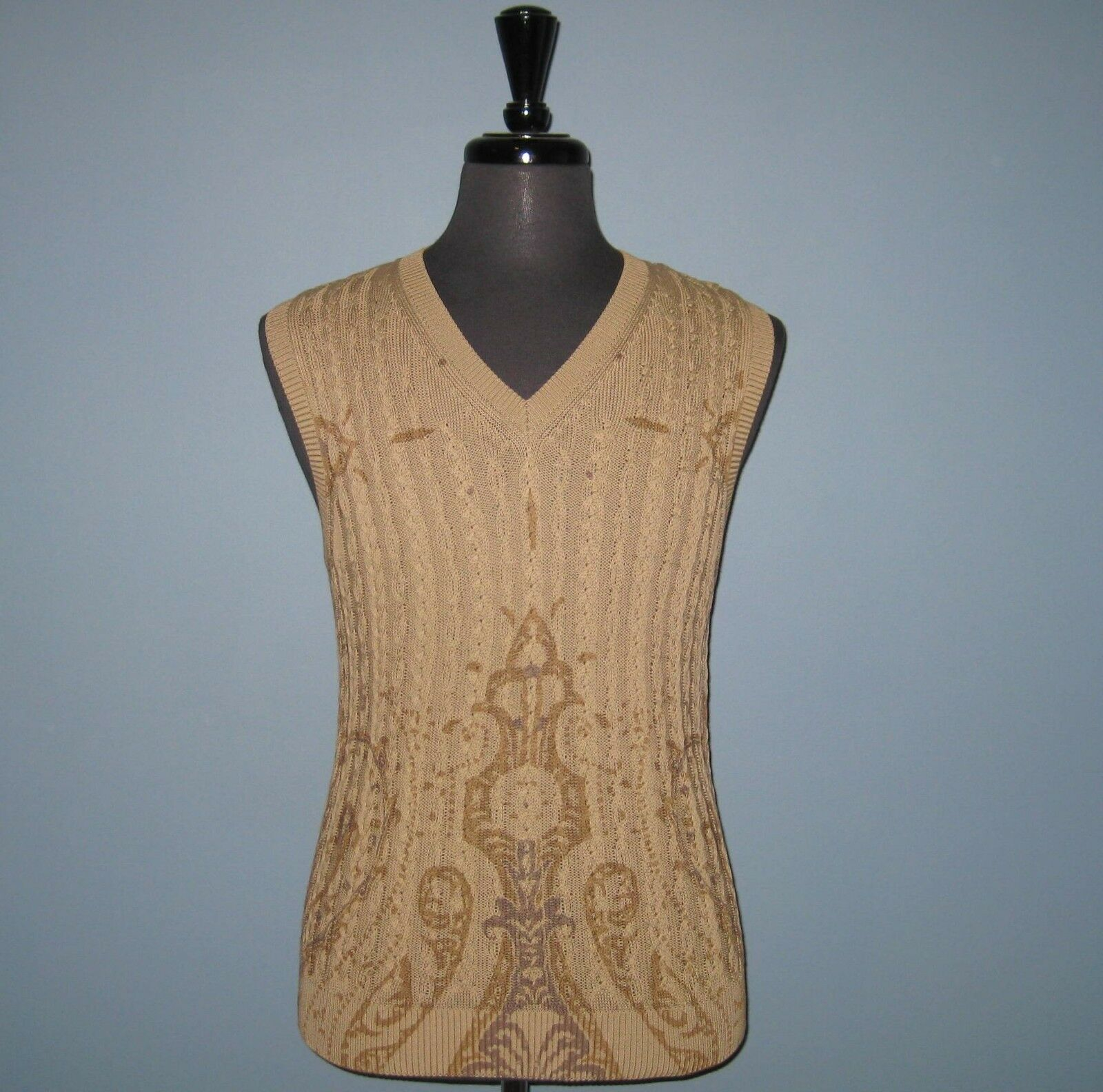 NWT Etro Beige 100% Cotton V-Neck Vest - Made in  -- FINAL SALE