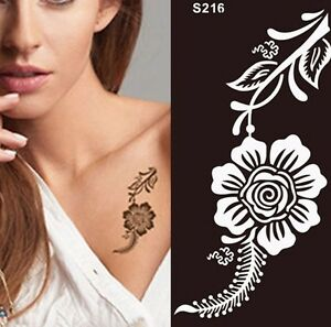 Rose Flower Henna Tattoo Stencil Temporary Pattern Body Painting For