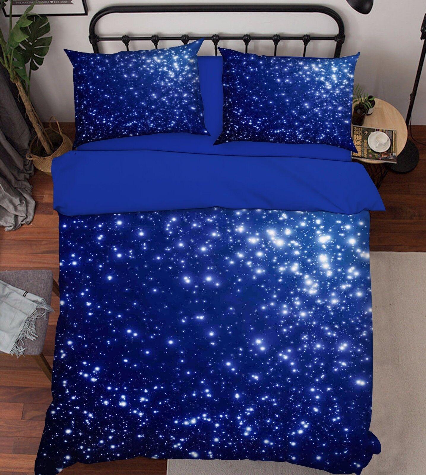 3D Shiny Stars 2 Bed Pillowcases Quilt Duvet Cover Set Single Queen King Size AU