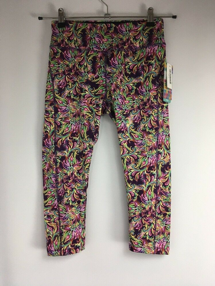 Unicorn Lularoe Floral Tribal Purple bluee Jade Capri Workout Leggings Sz XS NWT