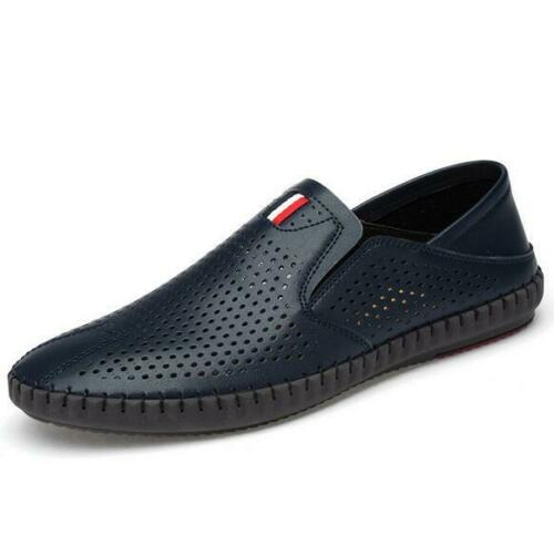 Mens Slip On Breathable Loafers Hollow out Leather  Outdoor Driving Casual Shoes