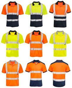 74deb5498bb2 Mens Workwear Tshirt Hi Vis VIZ Visibility Polo Contrast 2 Two Tone ...