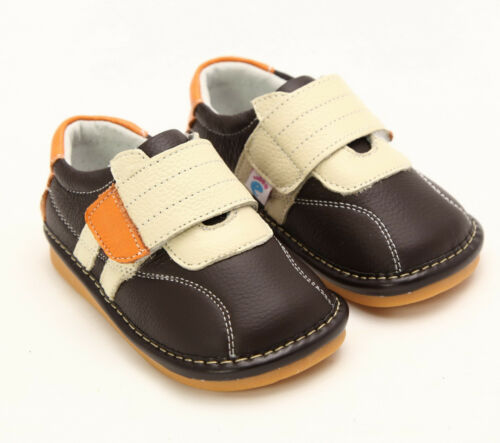 5 6 7 8 9 10 Freycoo Genuine Leather Kids Boys Squeaky Shoes Brown Szes