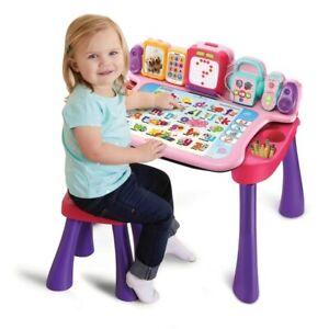 Kids-Vtech-Touch-amp-Imparare-Attivita-Scrivania-Giocattolo-Rosa-Suoni-Divertente-Giocattolo