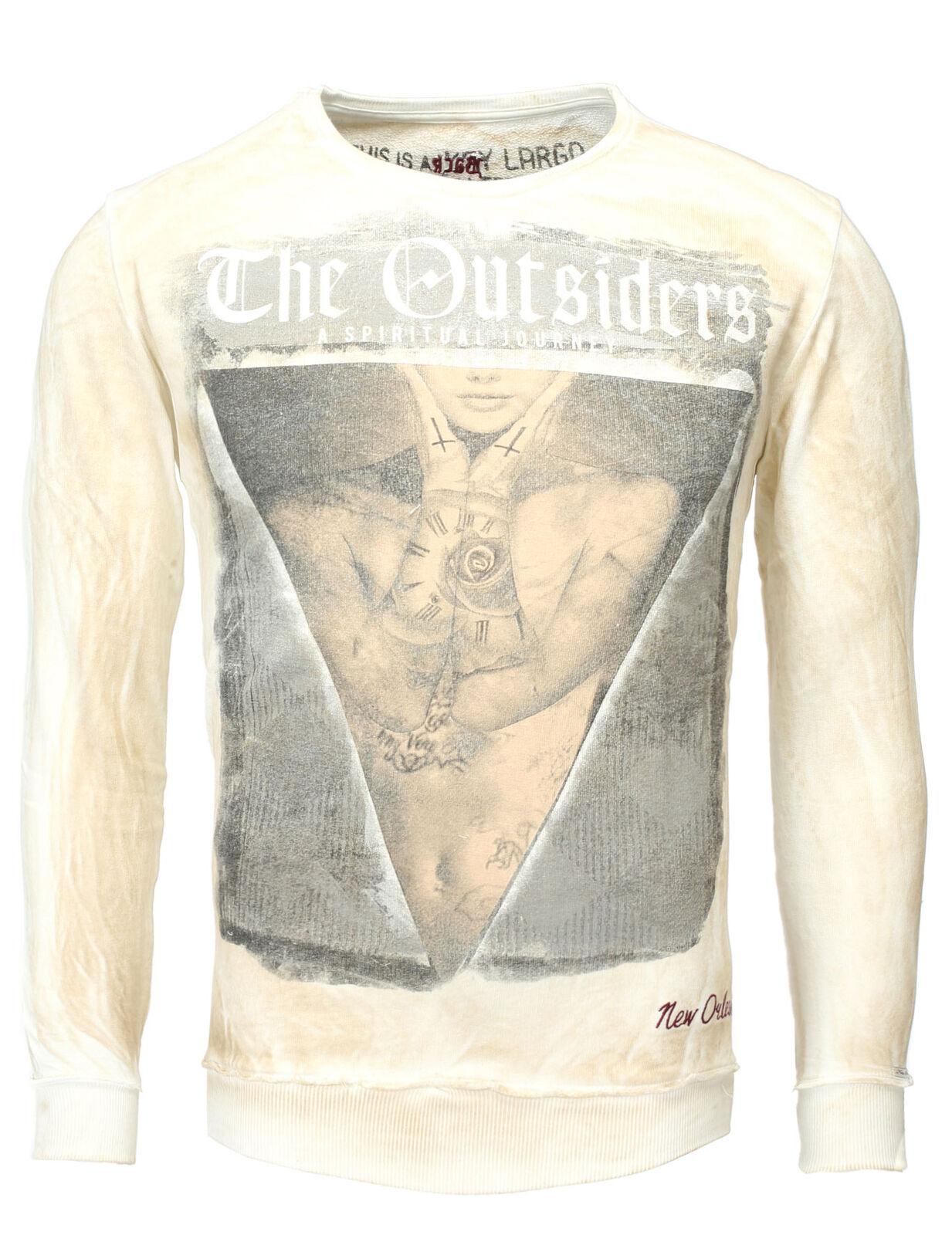 Key Largo Pullover Uomo Maglia Sweatshirt Vintage Outsiders Beige Sabbia