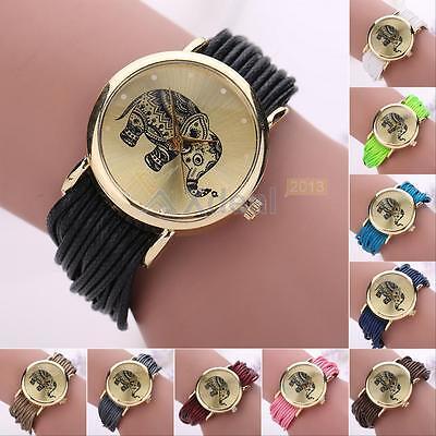Retro Women's Elephant Rope Winding Leather Quartz Bracelet Dress Wrist Watch