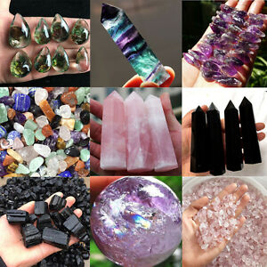 100-Natural-Obsidian-Amethyst-Point-Pink-Rose-Quartz-Healing-Crystal-Specimen